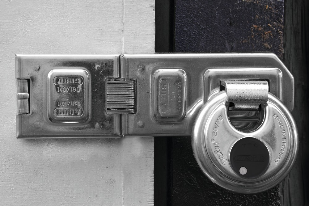 ABUS security Hasp and padlock for tool sheds